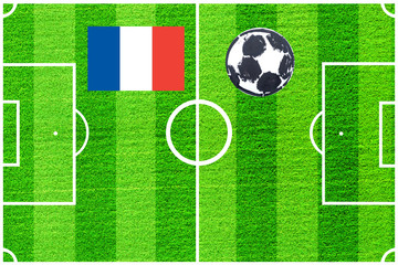 French flag on the background of a football field