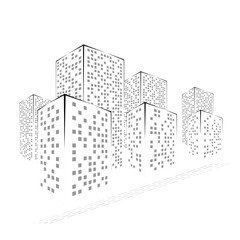 Abstract Black and White City. Graphical Silhouettes of Buildings Isolated on White Background. Raster Illustration