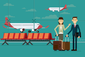 Business people travel with suitcases in airport terminal and plane, Vector Illustration