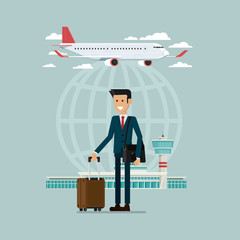 Plane departures travel sky and business man people with suitcases, Vector Illustration