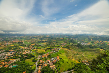 Tuscany green landscape from above