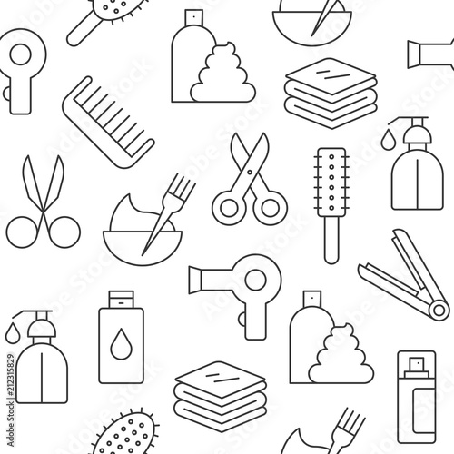 Seamless Pattern Hair Salon Set Outline Icon Suitable For Wallpaper And Background
