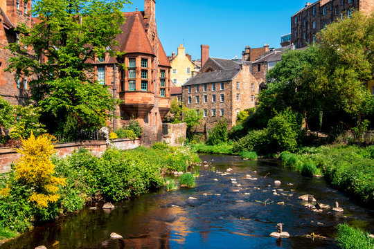 View of Dean village and water of Leith, Edinburgh, UK.