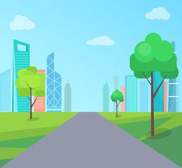Green Park in Modern City with Long Asphalt Road
