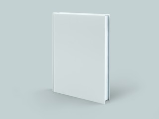 Blank hard cover book template on blank background