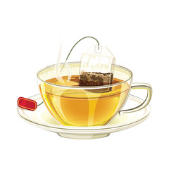 Tea bag in the cup with hot water. Realistic mug and tea bag.