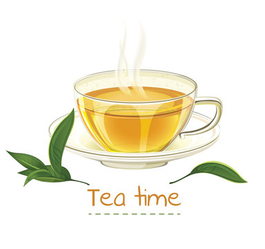 Tea time design template. Cup of tea vector illustration isolated on white background. Realistic mug and tea.