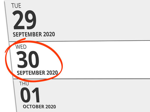 Date Wednesday 30. September 2020 circled in red on a calendar
