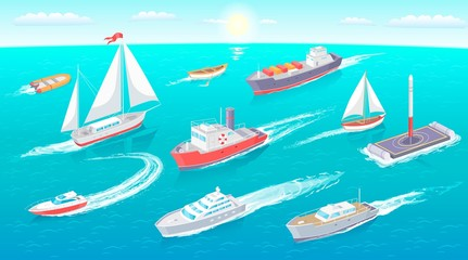 Water Transport Collection Vector Illustration