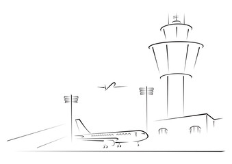 Airport exterior on black and white sketch illustration