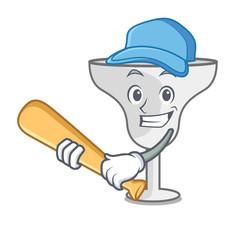 Playing baseball margarita glass character cartoon