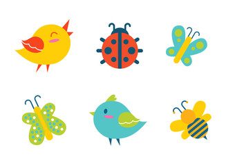 Creatures Collection Birds Vector Illustration