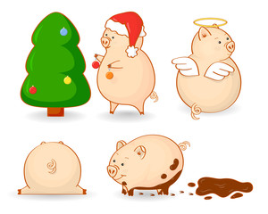 Nice set of cartoon pigs in different variations. Vector illustration. Element for design, vector illustration, print, background, wallpaper, textile, wrap.