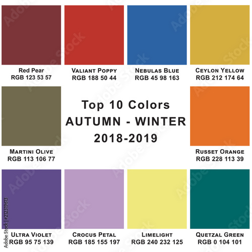 top 10 colors winter 2019 trendy colors of a season stock photo and royalty free images on. Black Bedroom Furniture Sets. Home Design Ideas