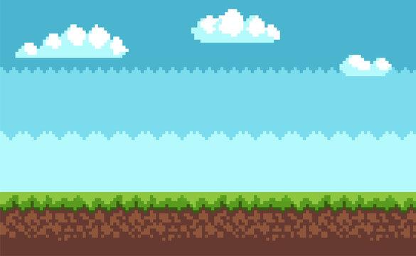 Landscape Pixel Art Style Blue Sky, White Clouds