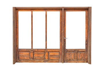 The wooden frame of a store front isolated on white background