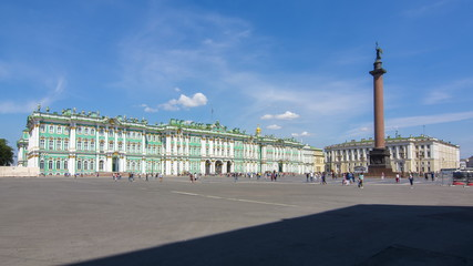 Winter Palace (Hermitage museum) and Alexander column on Palace square, Saint Petersburg, Russia