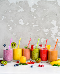 Healthy Smoothies with Tropical Fruits, copy space