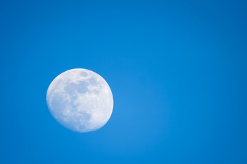 Full moon in blue sky background.