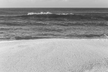Beach Ocean Shoreline Black White