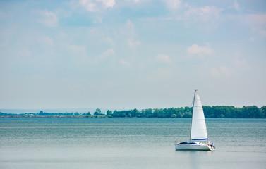 white Yacht on Zemplinska Sirava, Slovakia. beautiful vacation in summer
