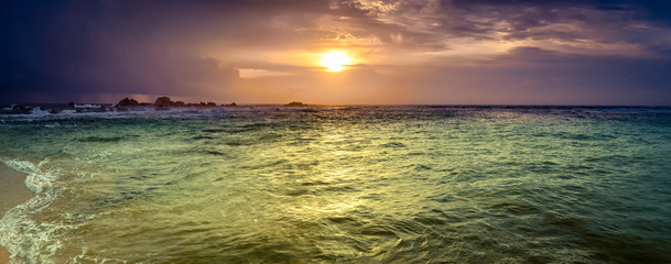Sunset over the sea. Amazing landscape panorama