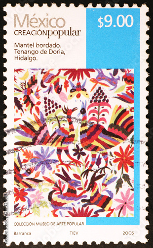 Old Mexican Painted Fabric On Postage Stamp