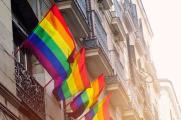 lgtb flags in the streets of Madrid