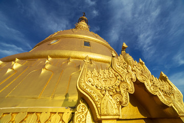 Laykyun Sekkya close-up view in Monywa, Myanmar. Bodhi Tataung Standing Buddha is the second tallest statue in the world.