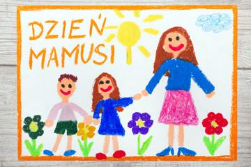 Kolorowy ręczny rysunek przedstawiający laurkę na Dzień Matki