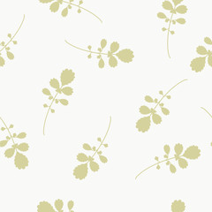 Seamless floral pattern with gold blades of grass.