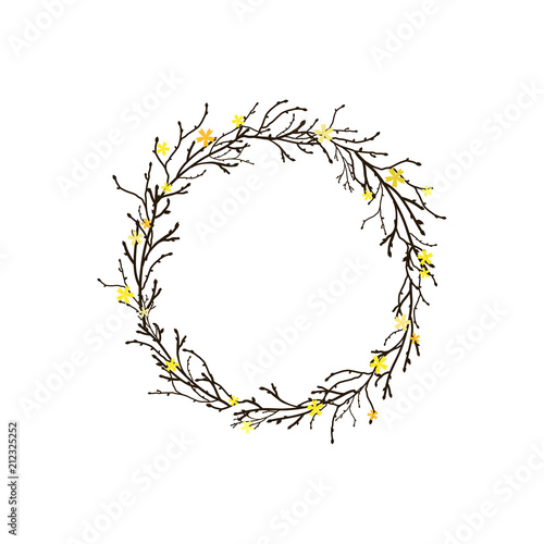 Wreath From Branches Twigs And Yellow Flowers On White Background