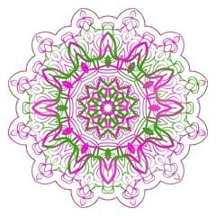 Colored Mandala. Vintage decorative elements. Hand drawn background. vector illustration.