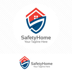 Safety home logo. Protection concept with shield and house combination.