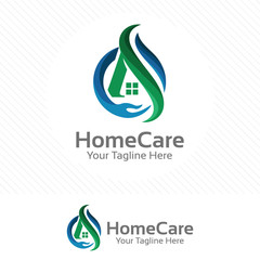Home care logo, property and real estate concept with hand symbol.