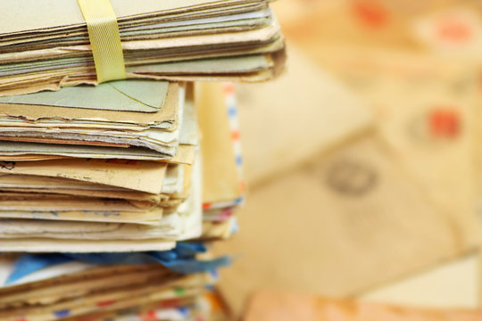 Heap of the old postal paper letters
