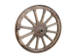Old wooden wheel, isolated on white background