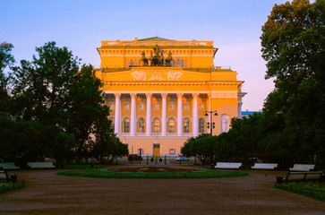 The legendary Alexandrinsky Theater, fully named by the Russian State Academic A.S. Pushkin Drama Theater, summer morning view