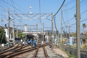 Türaufkleber Eisenbahnschienen 線路内でのメンテナンス作業