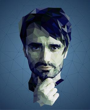 Low poly portrait of a man, reflective meditative face, blue colors, vector