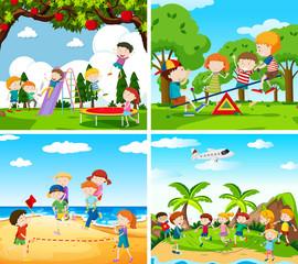 Set of scene of children playing