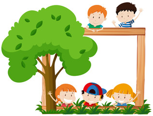 Blank frame surroeded by children and tree