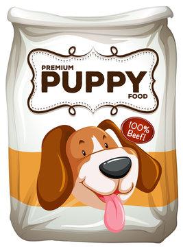 Bag of premium beef puppy food