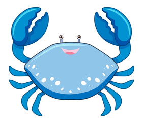 A Cartoon Blue Crab on White Background