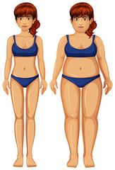 Set of healthy and unhealthy woman figure