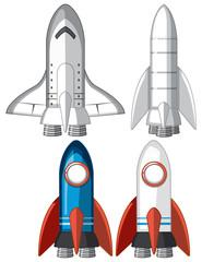 Set of rocket ships
