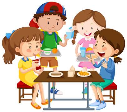 Group of children eating together