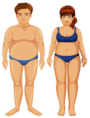 Set of overweight figures