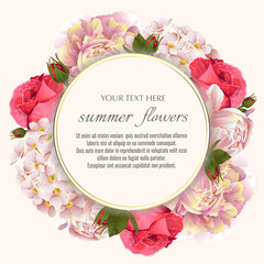 Template for greeting cards, wedding decorations, sales. Round Vector banner with Luxurious peony, rose flowers. Spring or summer design.