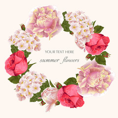 Vector vintage floral wreath with peony, rose flower.Template for greeting cards, wedding decorations, invitation, sales.